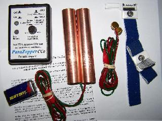 ParaZapper™CCa parasite zapper with standard copper paddles and 3M straps. Electrocute parasites with the improved Hulda Clark zapper.